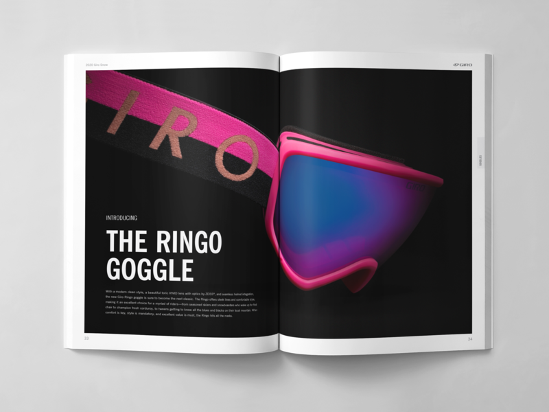 Giro Snow Catalog Spread white space condensed font font news gothic type hike santa cruz giro action sports snowboarding design print catalog design spread art direction studio photography ski snowboard goggle snow catalog