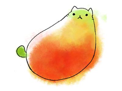 Mango Cat cartoon character animal animals fruit cats cat mango illustration