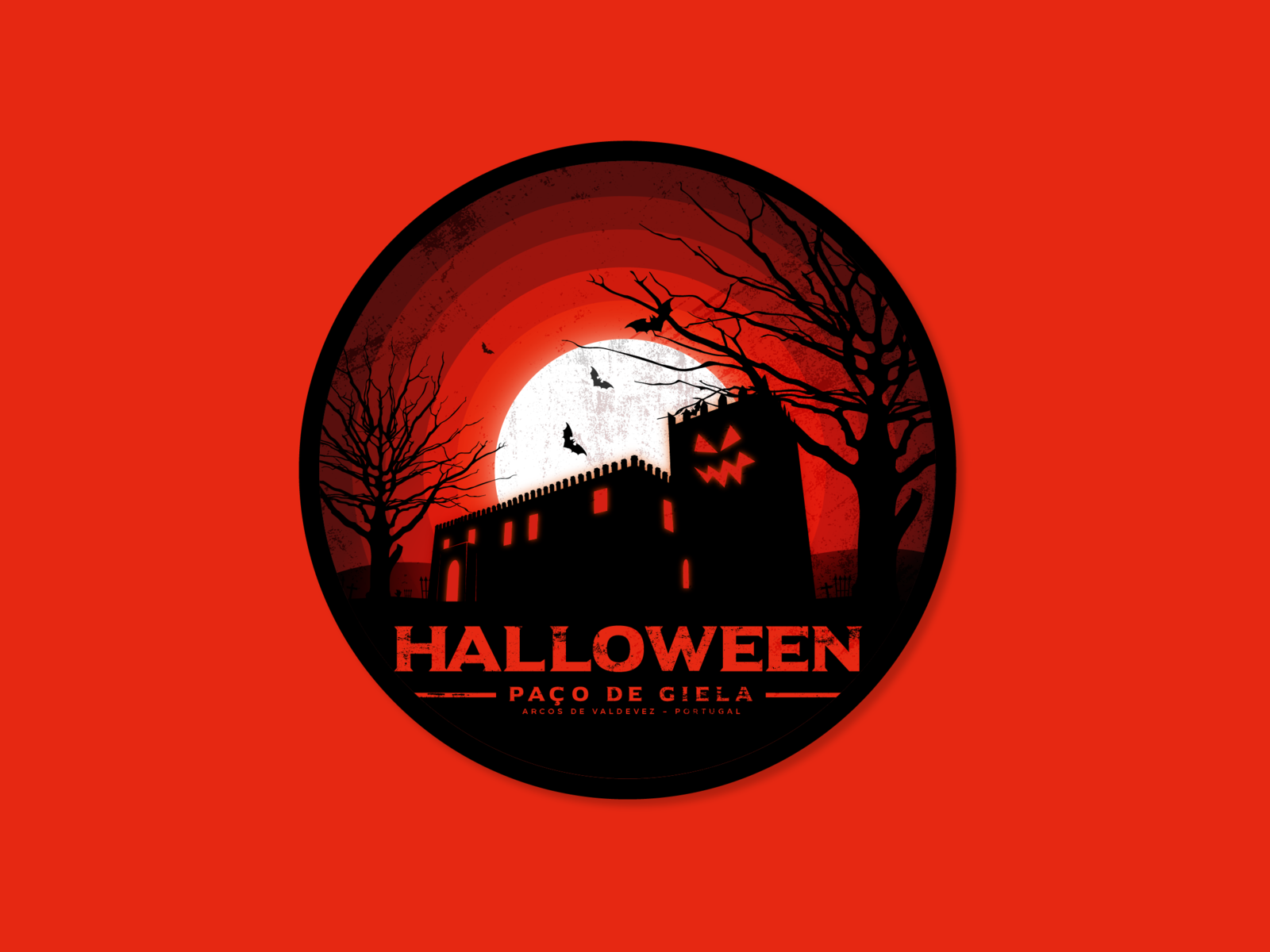 Halloween no Paço de Giela Badge badgedesign badge design halloween illustration badge design adobe illustrator