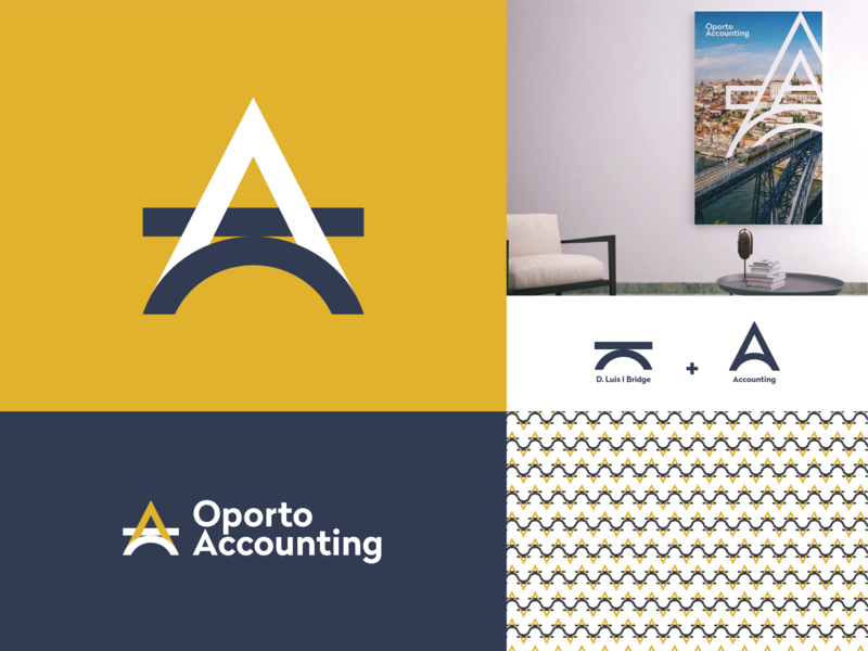 Oporto Accounting Approved Logo brand services a vector idenity logotype logo branding minimal monogram accounting bridge oporto design adobe illustrator