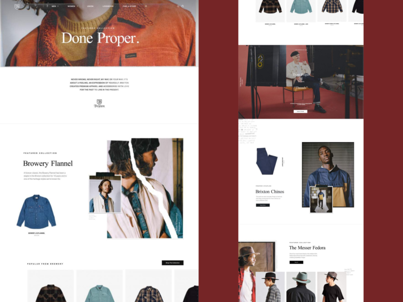 Brixton Done Proper 02 web design ecomm ecommerce vintage branding digital