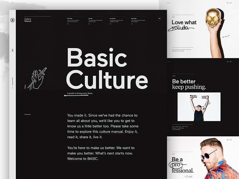 BASIC Culture Manual website web design ux ui typography minimal layout culture design clean