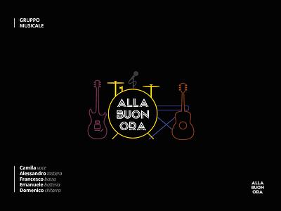 Cover Band - Logo design flat piano bass guitar music sing brand logo italy band
