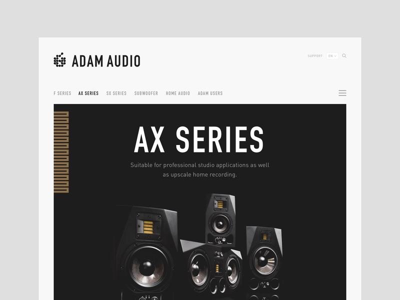 Website refresh for Adam Audio ui desgin