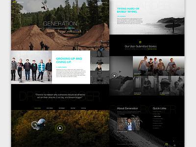 Generation: Real Pixels dark gallery sports website bmx skateboarding focus lab web design home page extreme sports landing page