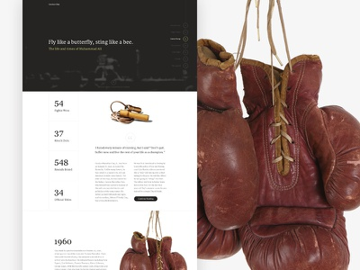 Cassius Clay biography boxing editorial layout dark clean simple focus lab web design boxing website landing page single page