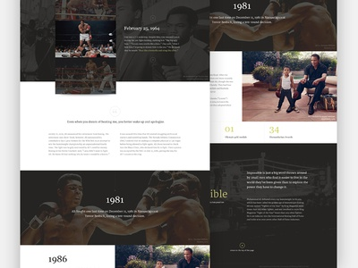 Cassius Clay 2.0 boxing dark biography clean type gallery website focus lab web design landing page splash page