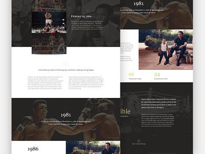 Cassius Clay 2.0 boxing dark biography clean type gallery website focus lab web design landing page splash page