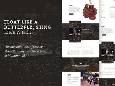 Cassius: Real Pixels boxing muhammad biography gallery dark editorial web focus lab web design home page boxing website landing page