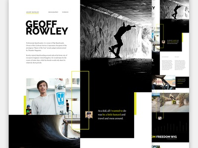 Rowley: Full Pixels skateboarding flip dark editorial biography skating web mosaic photography web design skate rats
