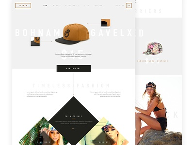 Bohnam Snapbacks snapback hats merchandise commerce product website clean minimal geometric layout product page web design