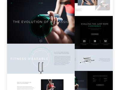 Smart Rope rope exercise athletic fitness wearable kickstarter dark campaign jump rope web design landing page