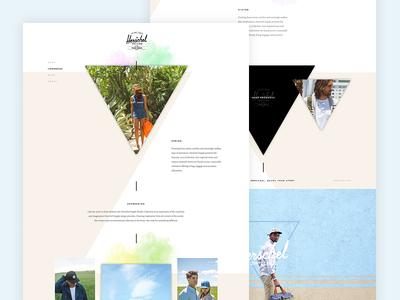 Herschel Supply LookBook Teaser look book web design organic bright colorful website pastel shapes triangles backpack lookbook