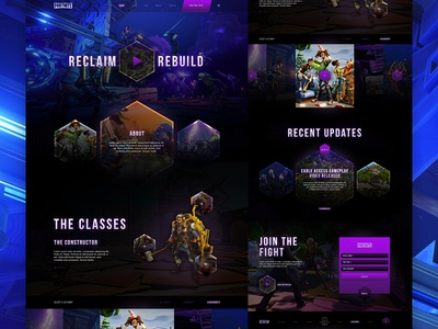 Fortnite Website sign up splash page landing page video games geometric beta gradients dark website gaming