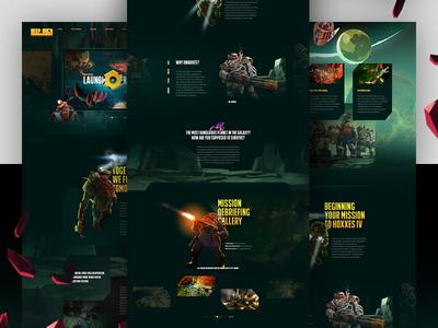 Deep Rock Galactic indie design aliens sketch space outer space web design website landing page gaming dark video game