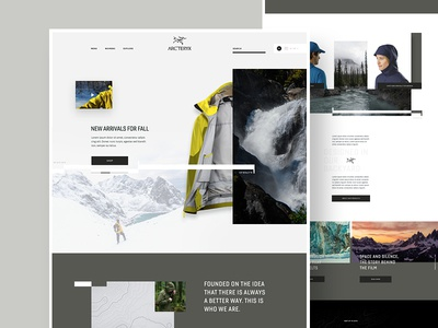 Arc'teryx Concept story web travel commerce hiking web design concept outdoors