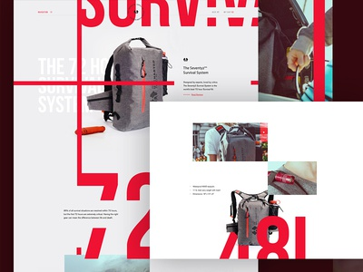 Seventy2, The 72 Hour Survival Backpack. landing page product page product web design web brand commerce backpack outdoors survival
