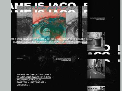 Jacob Proffer Portfolio landing page abstract photo manipulation typography portfolio texture dark web website developer