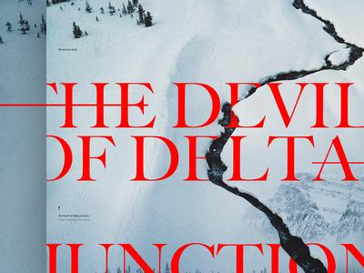 The Devil of Delta Junction - Mocktober 2019 typography website imagery snow dark collage story mocktober