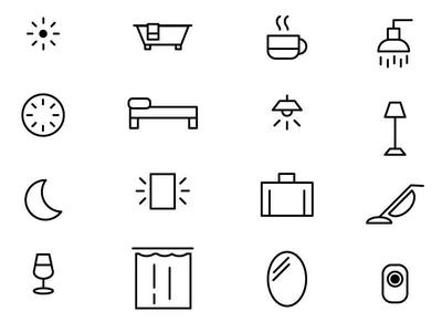 hotel room icons vector mark branding logo typography illustration