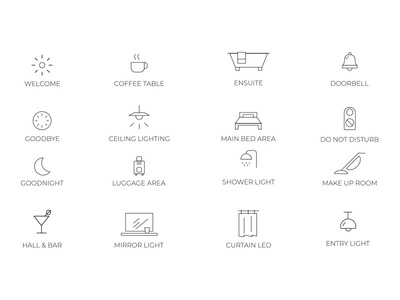 Lighting Hotel Icon set vector icon design icon set iconography icon