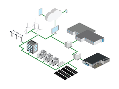 iso vector mircogrid agtech energy microgrid branding logo illustration