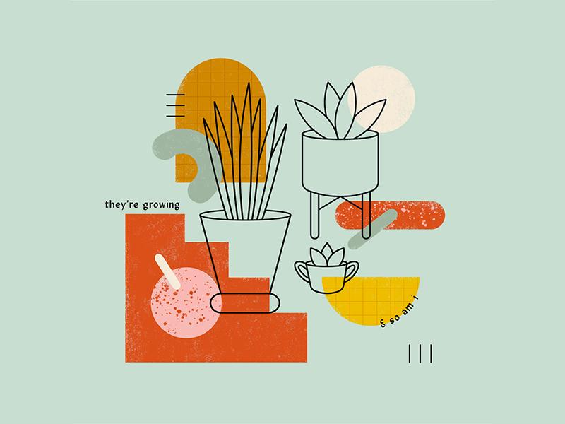 Growing 🌿 shapes boston illustrator cc growth plants texture vector chandoodles illustration