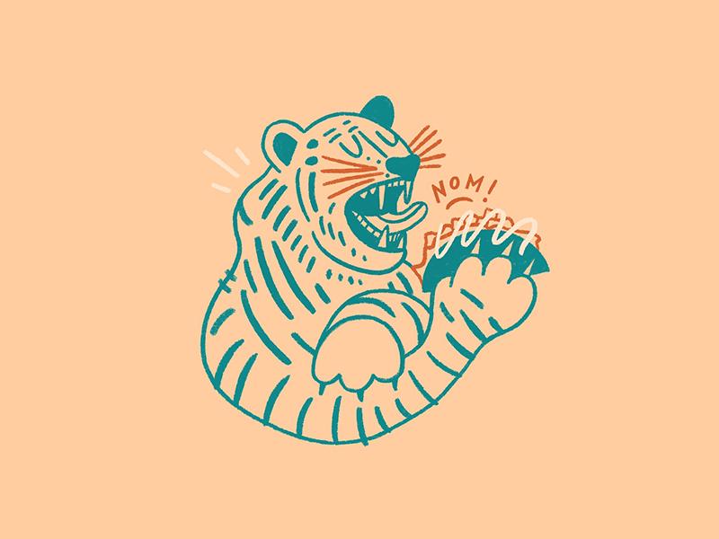 Tiger + Taco alliteration boston designer boston illustrator boston food doodle food nom taco tiger illustrator designer design doodle illustration chandoodles