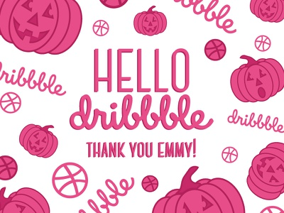 Hello Dribbble thanks halloween pumpkin pattern