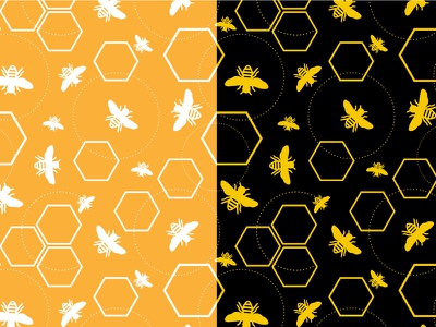 Bumblebee insects textile vector illustrator gold black pattern bees bumblebee