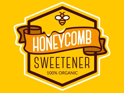 Honeycomb Sweetener gold yellow illustration illustrator logo deisgn logo honeybee honey
