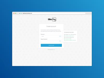 SlimPay Dashboard - Create account blue account creation account sign up signup ux ui app fintech b2b dashboard