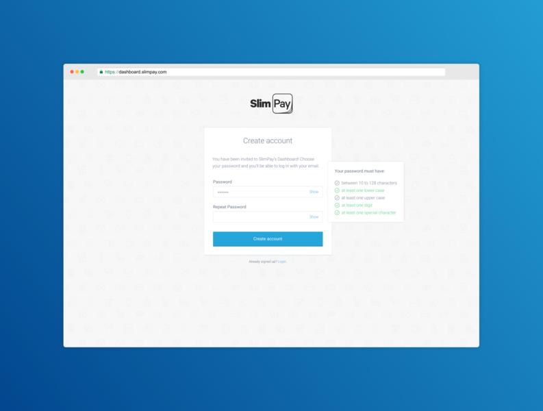 SlimPay Dashboard - Create account