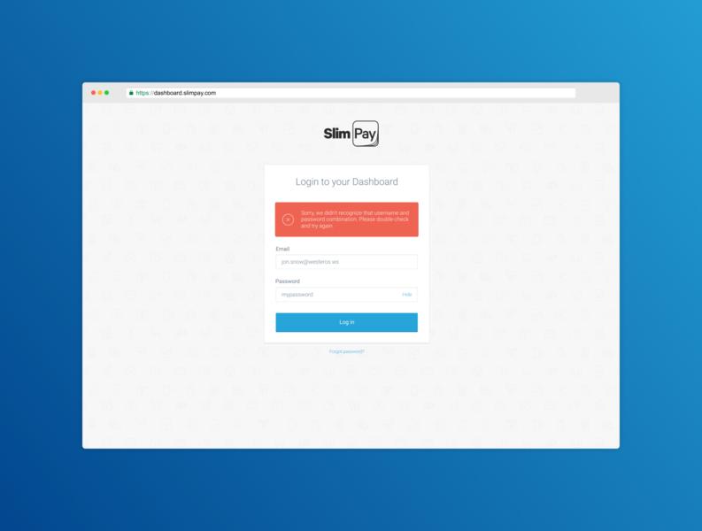 SlimPay Dashboard - Log in