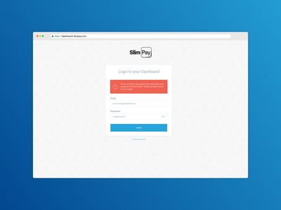 SlimPay Dashboard - Log in blue uiux dashboard ui login log in fintech dashboard b2b app