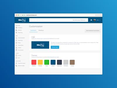 SlimPay Dashboard - Customization customization theming theme ux ui fintech dashboard blue b2b app