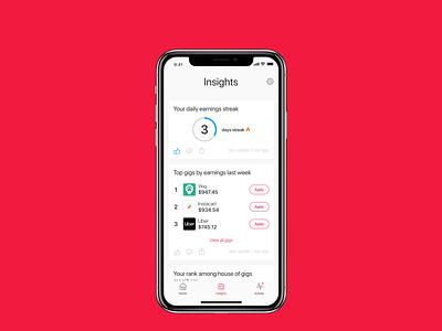 house of gigs - Insights earnings streak gigs ios insights b2c app