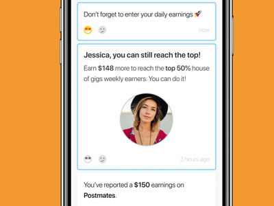 house of gigs - Activity earnings gigs feedback notifications b2c mobile app
