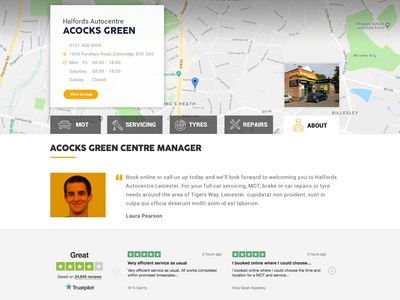 Local Pages tab navigation interface design design