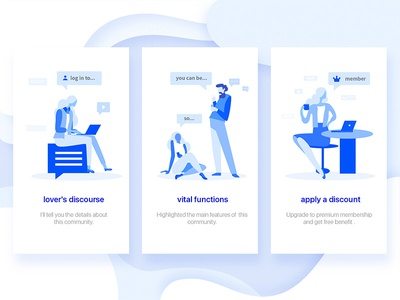 Illustration  about detail pages ui states signup painter onboarding music character login illustration blue empty animation