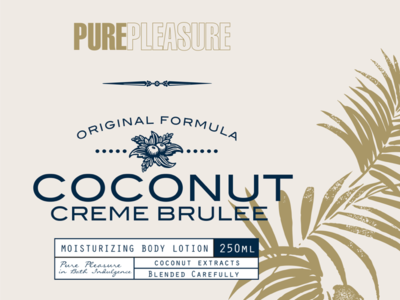 Pure Pleasure Label Design  I brand label pattern artwork shower body bath coconut brown grey