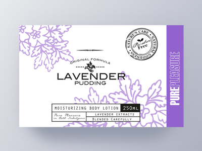 Pure Pleasure Label Design III fragrant shower pattern package lavender label purple brand body bath artwork