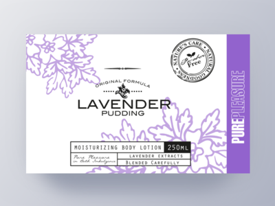 Pure Pleasure Label Design III fragrant shower pattern package lavender label purple brand body bath artwork