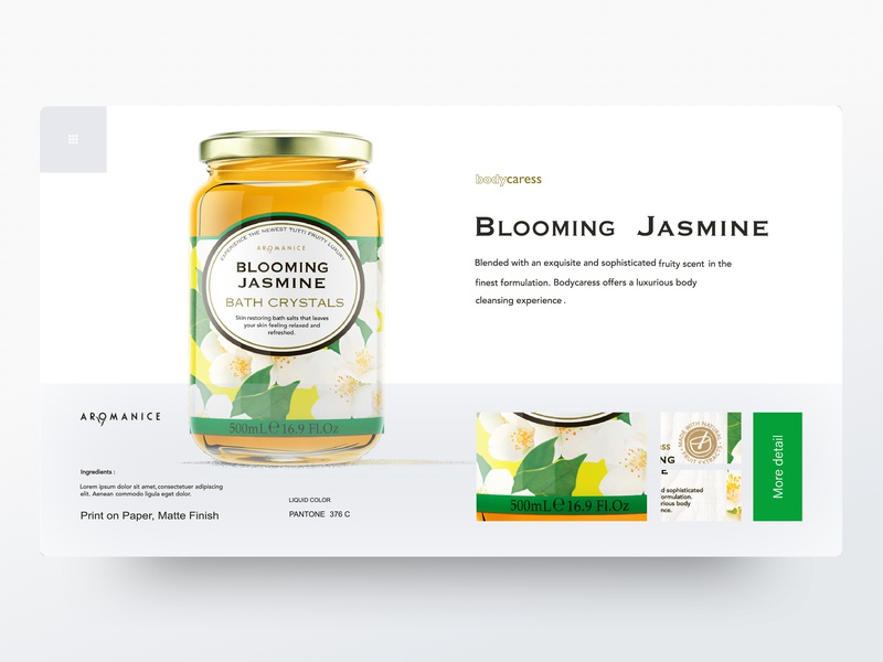 Option I Blooming Jasmine yellow green blooming jasmine floral label bath package brand