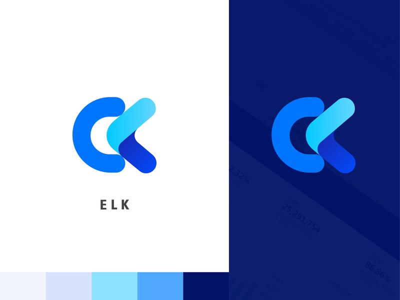 ELK logo design k l e typography branding logo ui package brand label