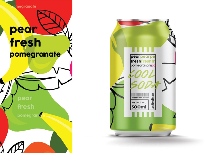 Cool soda  | Pear fresh pomegranate pear fruity fruit soda juice juicy package label brand illustration