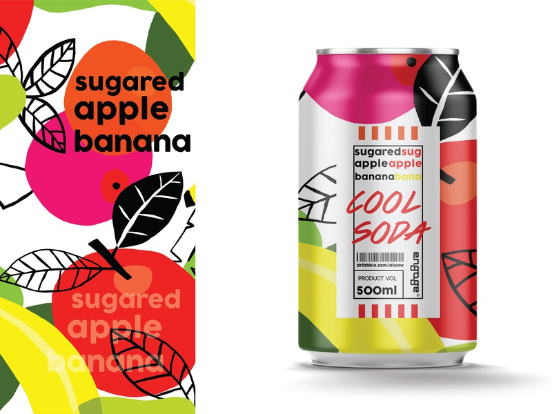 Cool soda | Sugared apple banana fruit drink soda can juice banana apple package label brand illustration