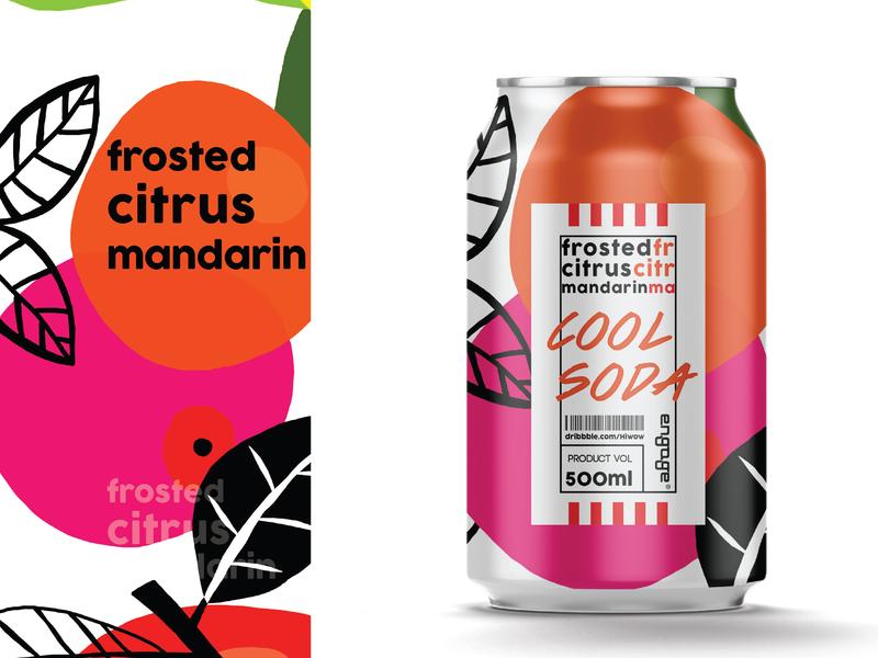 Cool soda | Frosted citrus mandarin mandarin citrus drink juice fruity branding package label illustration brand