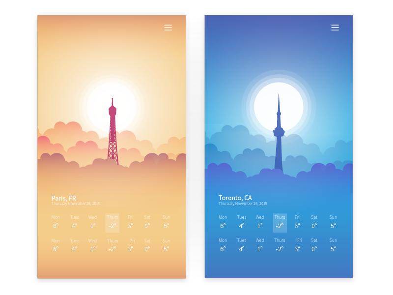 Weather App cold warm gradient mobile app weather