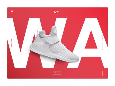 Nike Kwasi – Landing Page modern white red ui desktop web page landing landing page shoe nike